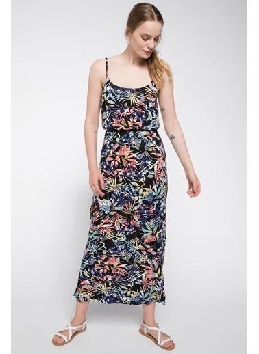 DeFacto Tropik Desenli Uzun Elbise Lacivert